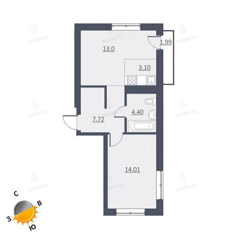 Вариант №1625, 2-комнатная квартира в жилом комплексе Дунаевский