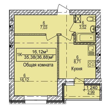 Вариант №6154, 1-комнатная квартира в жилом комплексе