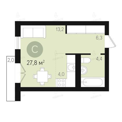 Вариант №2660, 1-комнатная квартира в жилом комплексе Дунаевский