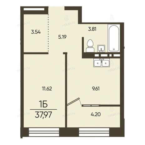 Вариант №2580, 1-комнатная квартира в жилом комплексе Ключевой