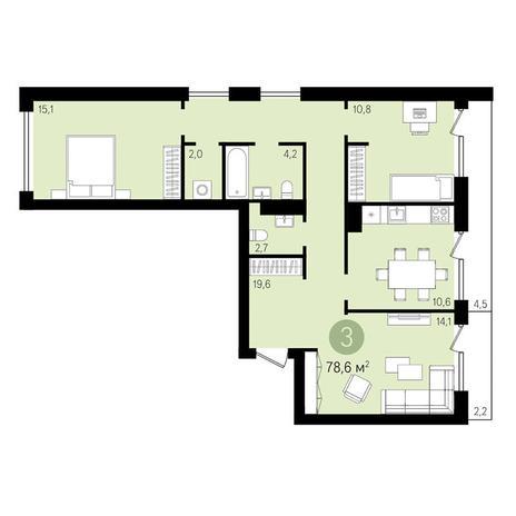 Вариант №3291, 3-комнатная квартира в жилом комплексе Европейский Берег