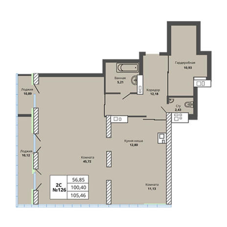 Вариант №2973, 4-комнатная квартира в жилом комплексе