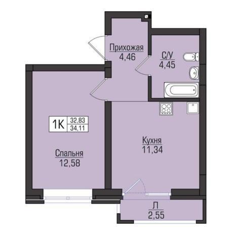 Вариант №5089, 1-комнатная квартира в жилом комплексе