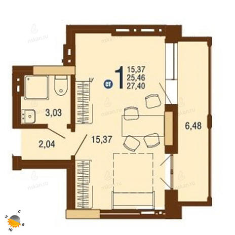 Вариант №1822, 1-комнатная квартира в жилом комплексе На Доватора