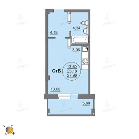Вариант №2460, 1-комнатная квартира в жилом комплексе