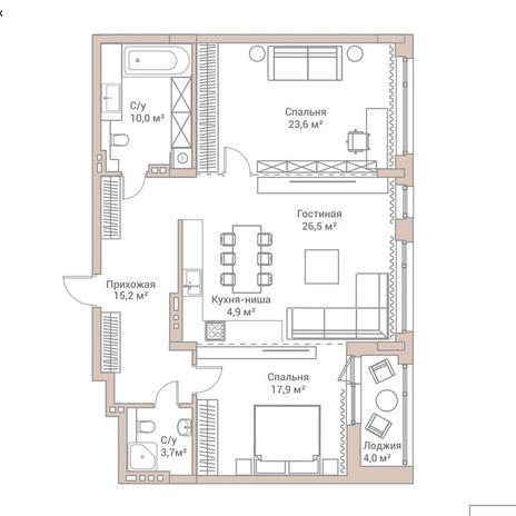 Вариант №3576, 3-комнатная квартира в жилом комплексе