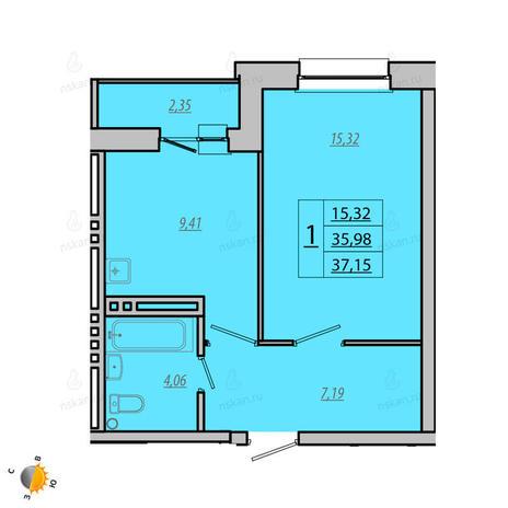 Вариант №1932, 1-комнатная квартира в жилом комплексе