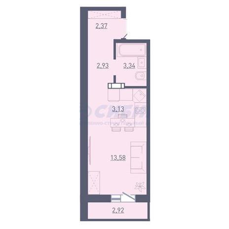 Вариант №3743, 1-комнатная квартира в жилом комплексе Радуга Сибири