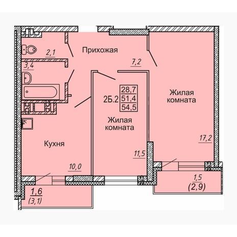 Вариант №4552, 2-комнатная квартира в жилом комплексе Новые Матрешки