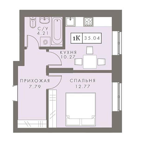 Вариант №2876, 1-комнатная квартира в жилом комплексе Чистая Слобода