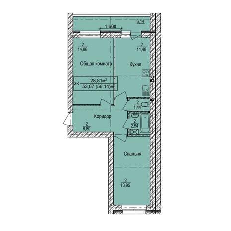 Вариант №5387, 2-комнатная квартира в жилом комплексе Сокольники