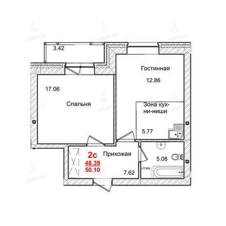 Вариант №1017, 2-комнатная квартира в жилом комплексе Маковского