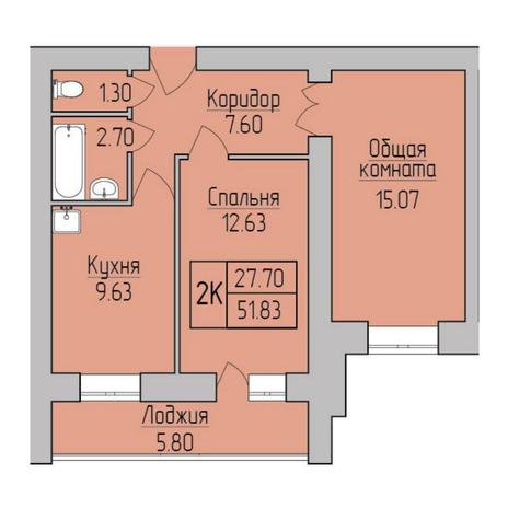 Вариант №5365, 2-комнатная квартира в жилом комплексе