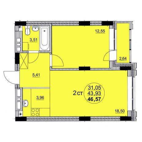 Вариант №3759, 2-комнатная квартира в жилом комплексе
