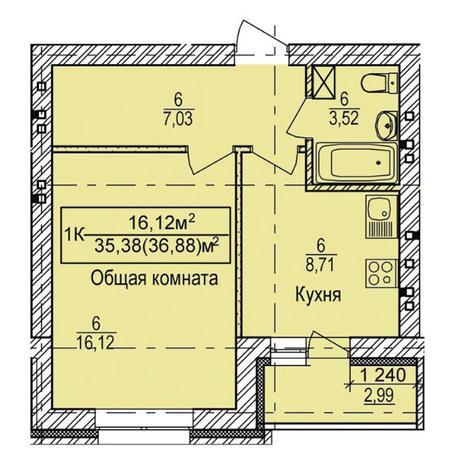 Вариант №3337, 1-комнатная квартира в жилом комплексе Свобода