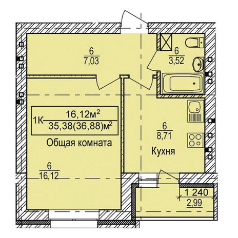 Вариант №3337, 1-комнатная квартира в жилом комплексе