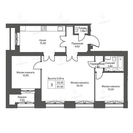Вариант №2759, 4-комнатная квартира в жилом комплексе