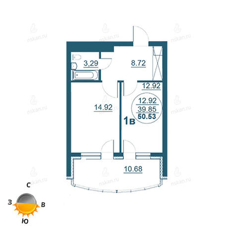 Вариант №959, 2-комнатная квартира в жилом комплексе Флотилия