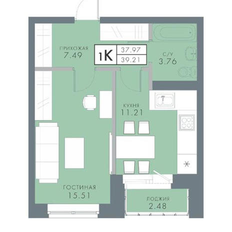Вариант №2824, 1-комнатная квартира в жилом комплексе