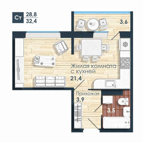 Вариант №5238, 1-комнатная квартира в жилом комплексе