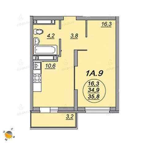 Вариант №2211, 1-комнатная квартира в жилом комплексе