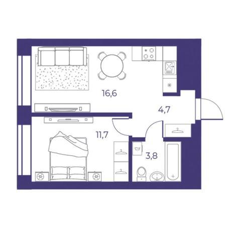 Вариант №5310, 2-комнатная квартира в жилом комплексе