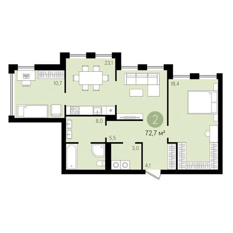 Вариант №3452, 2-комнатная квартира в жилом комплексе