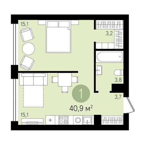 Вариант №3284, 1-комнатная квартира в жилом комплексе Дунаевский