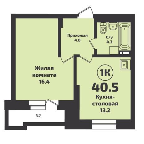 Вариант №5695, 1-комнатная квартира в жилом комплексе Сокольники