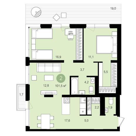 Вариант №4172, 3-комнатная квартира в жилом комплексе