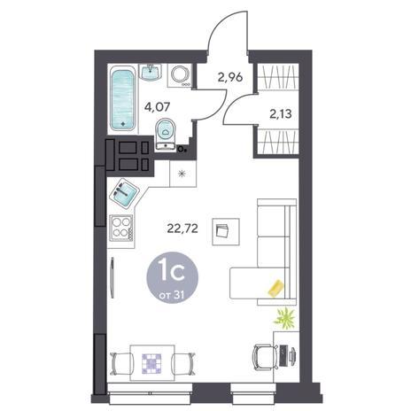 Вариант №5407, 1-комнатная квартира в жилом комплексе