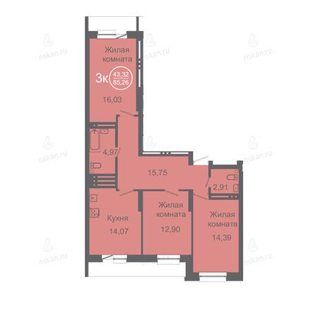 Вариант №2427, 4-комнатная квартира в жилом комплексе Дианит