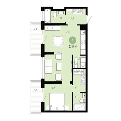 Вариант №4818, 2-комнатная квартира в жилом комплексе Европейский Берег