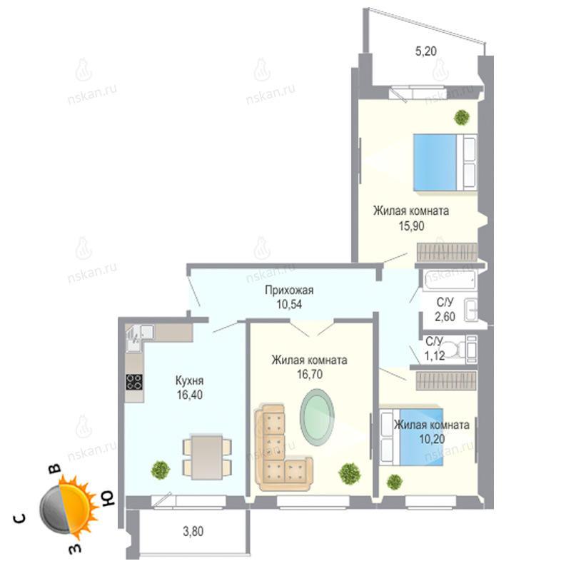Планировка 3-комнатная площадью 73.46 м<sup>2</sup> в ЖК Чеховский