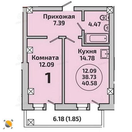 Вариант №1989, 1-комнатная квартира в жилом комплексе Родники