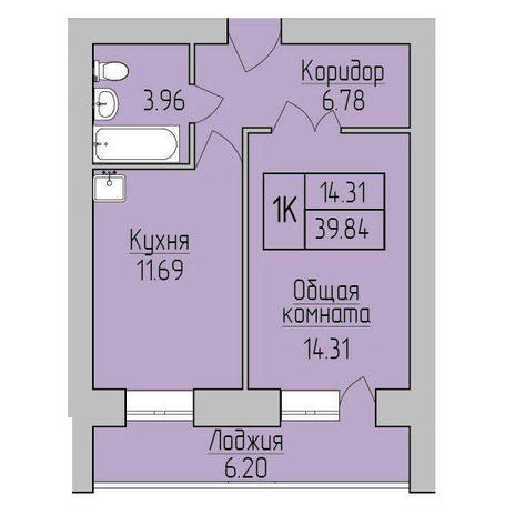 Вариант №3845, 1-комнатная квартира в жилом комплексе