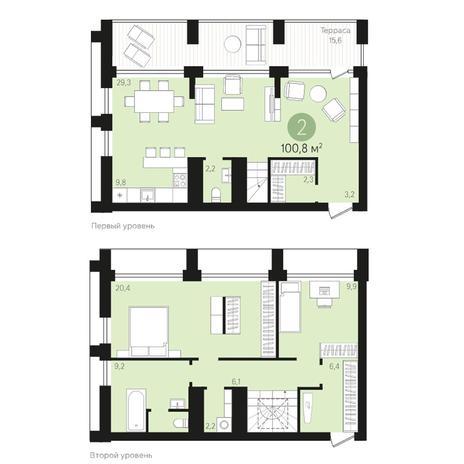 Вариант №4019, 4-комнатная квартира в жилом комплексе
