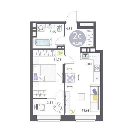 Вариант №3354, 2-комнатная квартира в жилом комплексе Ясный берег
