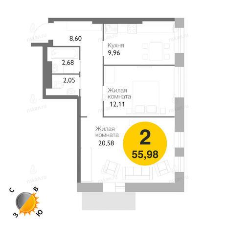 Вариант №1172, 2-комнатная квартира в жилом комплексе