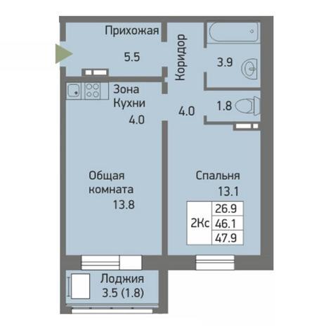 Вариант №3872, 2-комнатная квартира в жилом комплексе Ясный берег