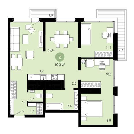 Вариант №4353, 3-комнатная квартира в жилом комплексе