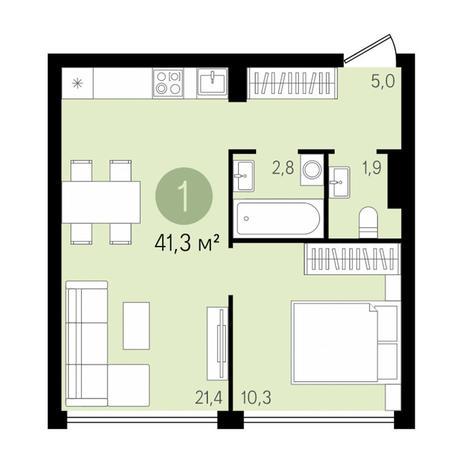 Вариант №2991, 2-комнатная квартира в жилом комплексе