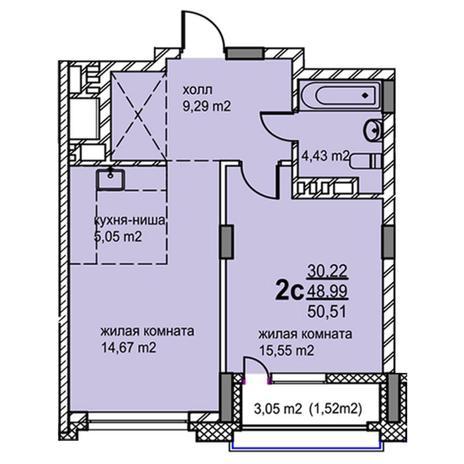 Вариант №5771, 2-комнатная квартира в жилом комплексе
