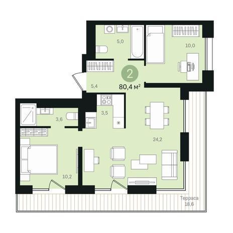 Вариант №6348, 3-комнатная квартира в жилом комплексе