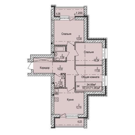 Вариант №5397, 3-комнатная квартира в жилом комплексе
