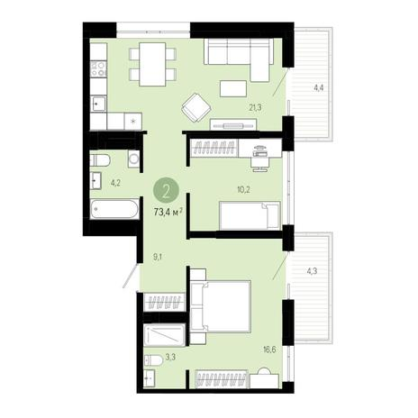 Вариант №4832, 3-комнатная квартира в жилом комплексе