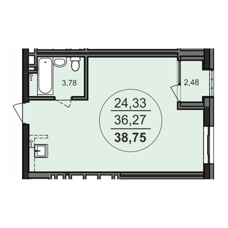 Вариант №3706, 1-комнатная квартира в жилом комплексе