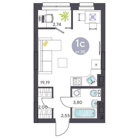 Вариант №5425, 1-комнатная квартира в жилом комплексе Ясный берег