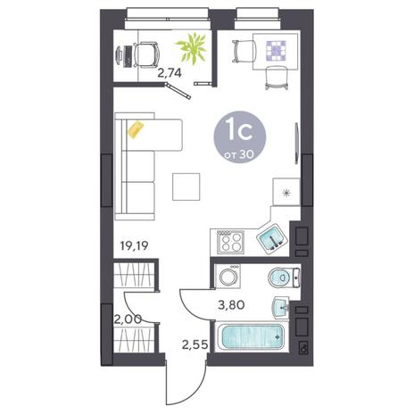 Вариант №5425, 1-комнатная квартира в жилом комплексе