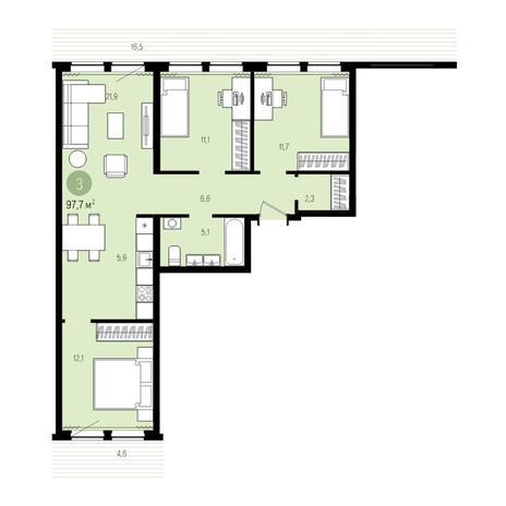 Вариант №5017, 4-комнатная квартира в жилом комплексе Пшеница